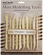 Mont Marte Boxwood Mini Clay Modeling Tools 10 Piece. Set of 10 Double Ended Pieces Providing 20 Clay Modeling Tools. Suitable for Cutting, Carving and Smoothing Clay.