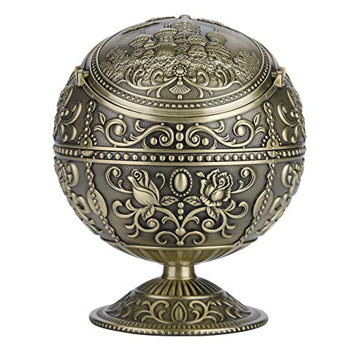 Vintage Art Craft Ashtray - Dewin Metal Round Ball, Stamped Pattern, Gift Decoration, 3 Colors (Color : Antique Brass)