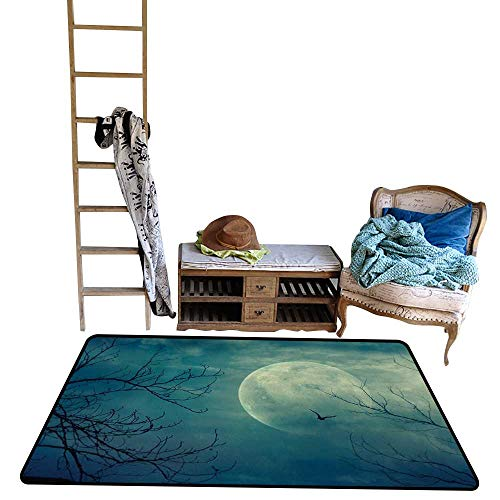 Horror House, Kids Carpet Playmat Rug, Halloween with Full Moon in Sky and Dead Tree Branches Evil Haunted Forest Print, Floor Mat for Kids, W56 x L64 Inch, Blue