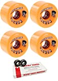 70mm Seismic Skate Systems Urchin BlackOps Longboard Skateboard Wheels with Bones Bearings - 8mm Bones Swiss Skateboard Bearings - Bundle of 2 items