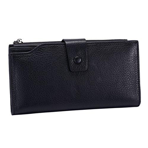 Luxury Wax Card Rfid Holder Blocking Purse Organizer Large Wallet Leather Women's 2 Capacity Itslife natural Black Genuine Ladies Clutch YXqfw