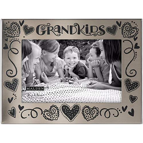 Malden International Designs Whimsical Words Satin Silver Metal Grandkids Picture Frame, 4x6, Silver
