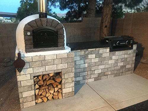 Brick Pizza Oven, Insulated, Wood Fired, Handmade in Portugal, Brick or Stone Face (Stone) by Authentic Pizza Ovens