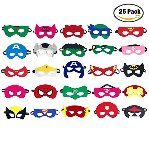 Party Masks for Kids | Marvel & DC Superheroes Party Supplies | Party Favor Masks for Kids | 25 Pieces Superhero Party Masks for Children Age (Superhero Face Masks)