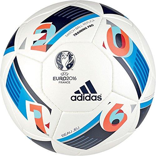 adidas Herren Ball EURO 2016 Training Pro, White/Bright Blue/Night Indigo, 5, AC5449