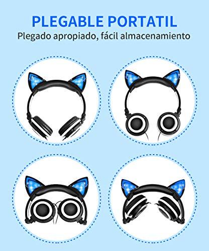 Auriculares niña,Cascos niña,Auriculares Orejas de Gato,Cascos niña,Auriculares Infantiles niña,Auriculares,audifonos de Gato,Auriculares Infantil,Auriculares Rosa (Negro)