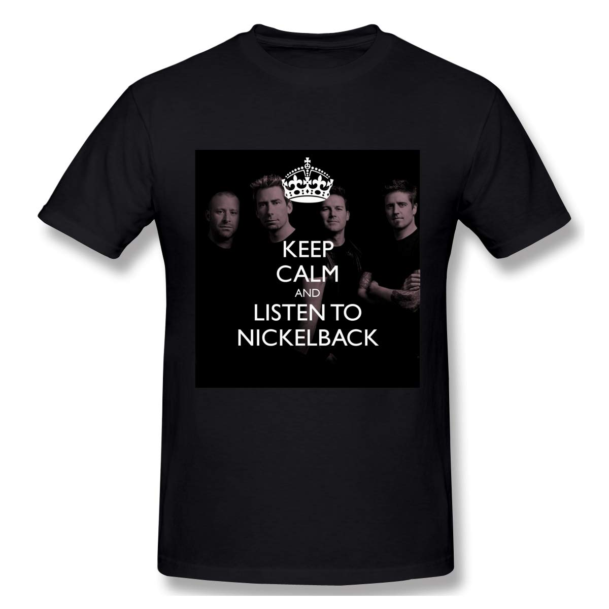 S Logo Of Keep Calm And Listen To Nickelback Cool Black T Shirts Short Sleeve