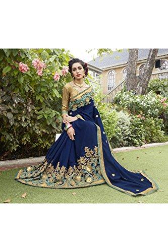 Da Facioun Saris Indiens Pour Les Femmes Portent Partie Concepteur De Mariage Sari Bleu Traditionnel De La Marine