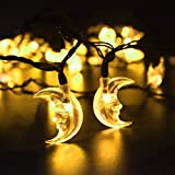 LED SopoTek Solar Powered fairy string lights solar LED Christmas Lights, 4.8Meters 20 LED Warm white Moon shaped solar String Lights for Outdoor, Gardens, Homes, Wedding, Christmas Party, Waterproof (20LED Warm white/Yellow color)