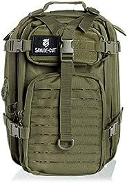 Savage Cut Waterproof Tactical Bag - Military Laser Cut, Heavy Duty Survival Backpack (Black)