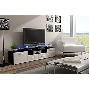 Tv Stand Milano 200 Black Body Modern Led Tv Cabinet Living Room Furniture Tv