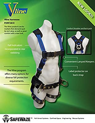 Small Fall Protection Equipment with Fall Arrest Indicator No-Tangle D-Ring with Pad OSHA//ANSI Compliant SafeWaze V-LINE Construction Safety Harness with Waist Belt