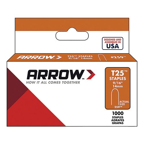 Arrow Fastener 259 Genuine T25/T2025 9/16-Inch Staples, 1,000-Pack