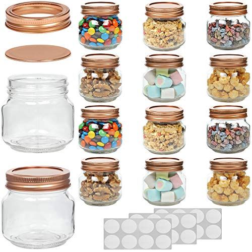 WILLDAN Set of 12-8 OZ Mason Jars With Regular Lids Rose Gold Edition - Ideal for Body Scrubs, Lotions, Jam, Honey, Wedding Favors, Shower Favors, Baby Foods, 20 Whiteboard Labels Included