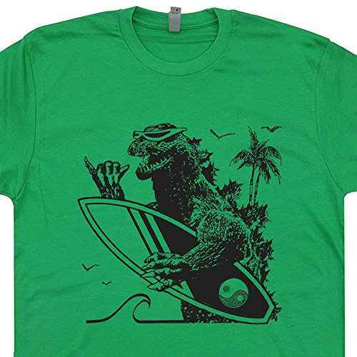 L - Vintage Surfing T Shirt Green Dinosaur Animal Surfing Shirt Cool Gift For a Surfer Surf Japan 80s Vintage Surfboard Graphic Tee (Godzilla Size Chart)