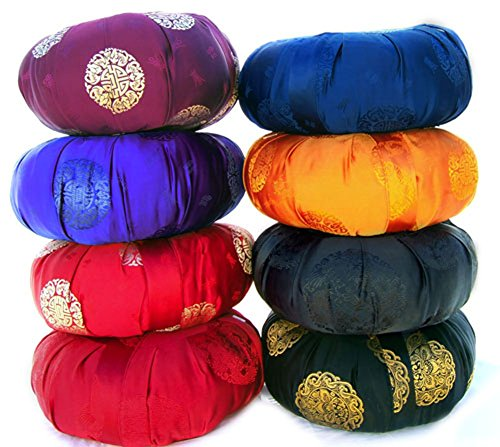 Zen Zafu Sitting or Meditation Cushion with Silk Brocade Cover (Orange)