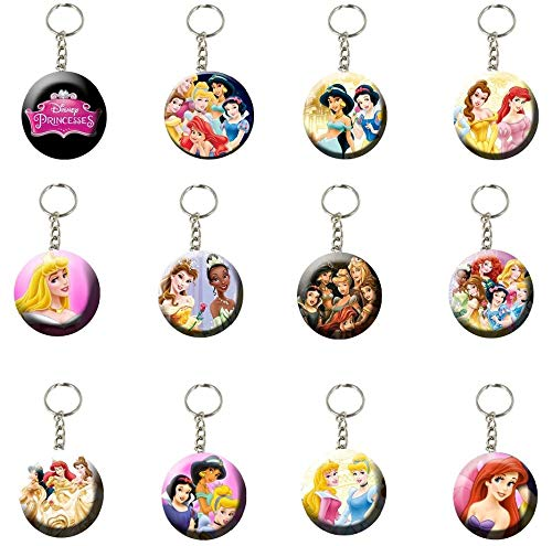 MS DecorBox Disney Princess Keychains Party Favors Giveaway Supplies Backpack Keychains - 12 pcs (1 Dozen) -