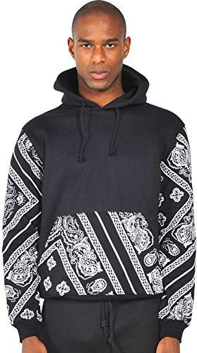 Pizoff Unisex Hip Hop Kapuzenpullover mit Fleecefutter und Paisley Muster Y0299-b--XXXL