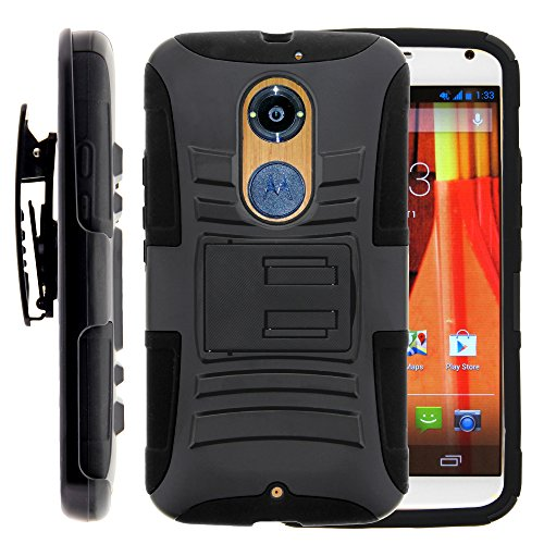 Moto X 2nd Gen Case, Moto X 2nd Gen Holster, Two Layer Hybrid Armor Hard Cover with Built in Kickstand for Motorola Moto X 2014 2nd Generation XT1092 XT1093 XT1094 XT1095 XT1096 XT1097 (AT&T, T Mobile, Verizon, US Cellular) from MINITURTLE | Includes Screen Protector - Black
