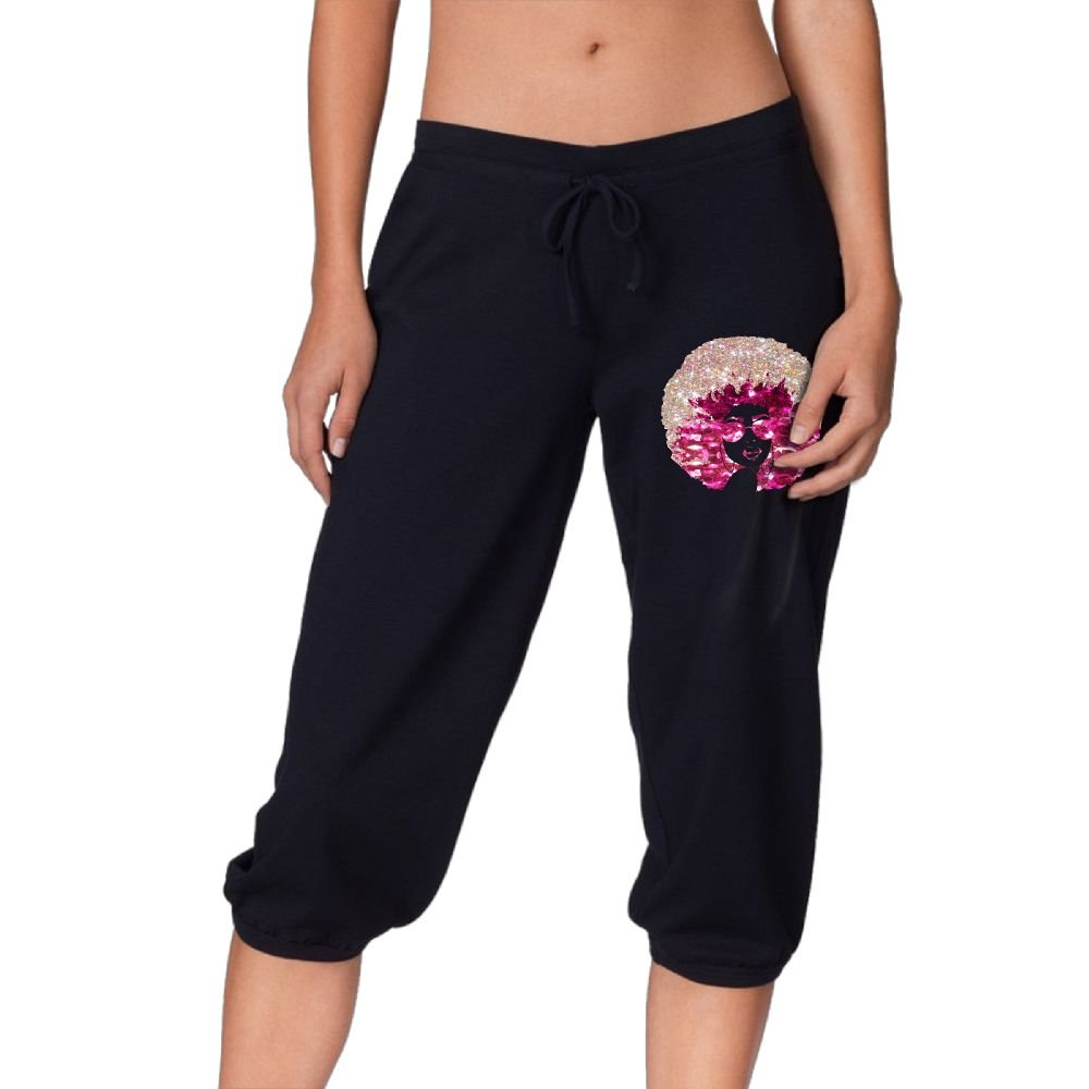 Ponyop Afro Woemn With Glitter Sunglass Women's Sweatpants Joggers Activewear Workout Running Pants Drawstring M