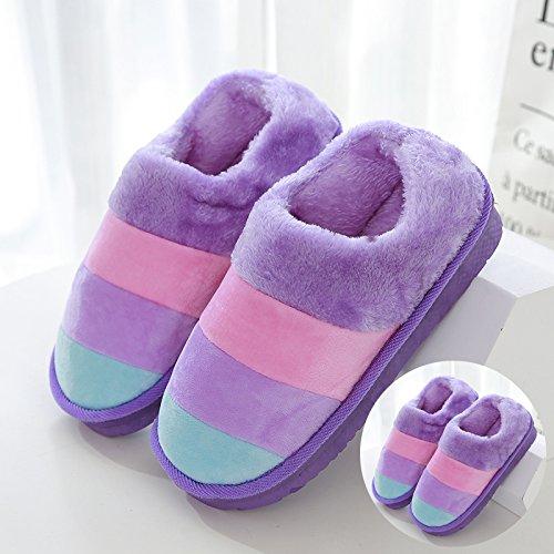 LaxBaAbsorption de choc mou et perméable à lintérieur dhiver Chambre pantoufles pour hommes et femmes 2 paires de violet 40-41