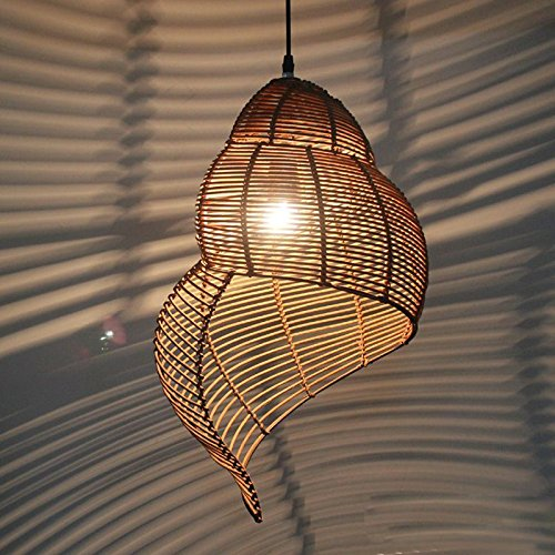 Pastoral Rattan Snail Dining Room Ceiling Pendant Lamps Creative Garden Study Room Pendant Light Bar Cafe Shops Pendant Lamp - Pendant Bamboo Lights