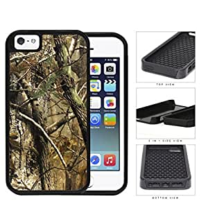 Woods Camo Fall Season 2-Piece Dual Layer High Impact Rubber Silicone Cell Phone Case Apple iPhone 5 5s