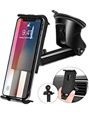 Kaome 3 in 1 Car Phone Holder for Car Windscreen, Car Phone Mount Air Vent Dashboard Adjustable Universal 360° Rotation Car Cradle with Scratch Protection Strong Sticky Gel Pad also for Desk(Upgraded)