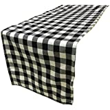 LGHome Christmas Modern Farmhouse Decoration Black and White Cotton Buffalo Check Table Runner 12x108inch Pack of 2