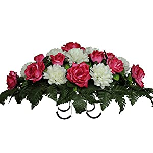 Beauty Pink Rose and White Mums Silk Saddle Arrangement by Sympathy Silks® (SD1542) 100