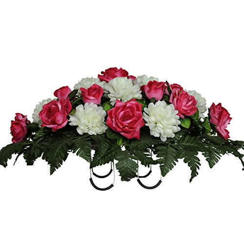 Sympathy Silks Artificial Cemetery Flowers Saddle-Arrangement - Pink Rose & White Mums Silk Fake Flowers for Outdoor Grave-Decorations - Non-Bleed Colors, Easy ()