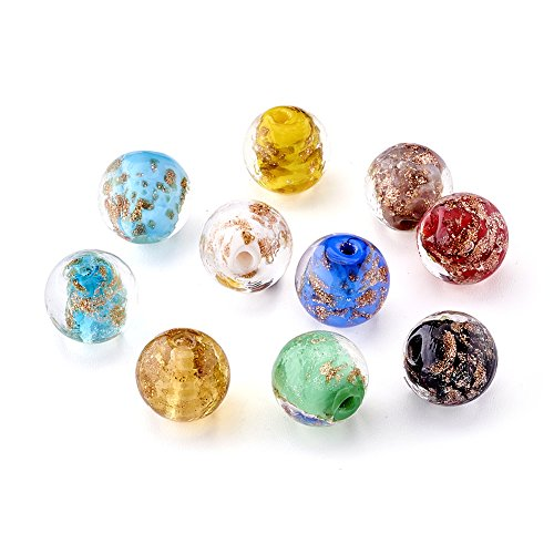 Craftdady 20pcs Mixed Color Round Handmade Lampwork Beads Rondelle Gold Sand Style Glass Loose Spacer Beads Charms for DIY Jewelry ()