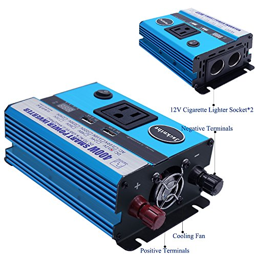 400W Power Inverter DC 12V to AC 110V Car Inverter with 2 USB Charging Ports Car Adapter with AC Outlets & Cigarette Lighter Sockets Automotive Power Converter for Car Battery with Digital Display by Jacknthe (Image #1)