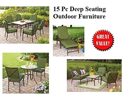 Amazon Com 15 Pc Outdoor Patio Furniture Sofa Chat Table Set