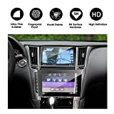 RUIYA 2016 2017 Infiniti Q50 Q60 Car Navigation and Bottom Touch Screen Protective Film Combined Package (Pack of 2),8-Inch Clear Tempered Glass HD and Protect your Eyes