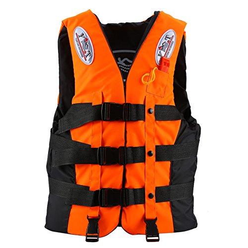 Vbestlife Life jacket Life Vests Swimming Vest Buoyancy Aid Universal Swimming Boating Kayaking Life Vest+Whistle for Children and Adult (Orange, XL Adult between 2.4-2.7ft Waistline)