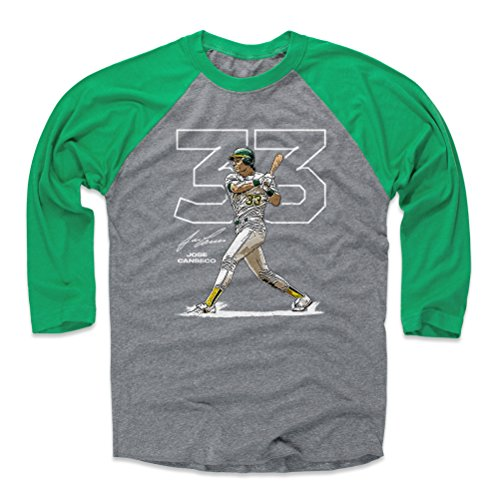 500 LEVEL Jose Canseco Baseball Tee Shirt X-Large Green/Heather Gray - Vintage Oakland Baseball Raglan Shirt - Jose Canseco Outline W WHT