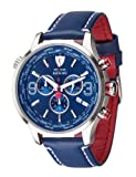 DETOMASO AURINO Men's Watch Chronograph Analog Quartz Blue Leather Strap Blue Dial DT1061-J
