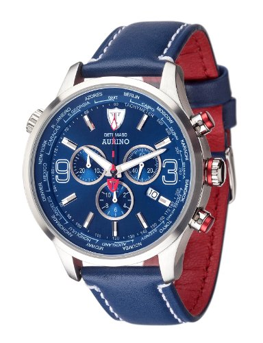 DETOMASO Men's Quartz Stainless Steel and Leather Casual Watch, Color:Blue (Model: DT1061-J)