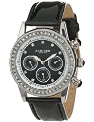 Akribos XXIV Womens AK556BK  Dazzling Silver-tone Swiss Multifunction Black Strap Watch