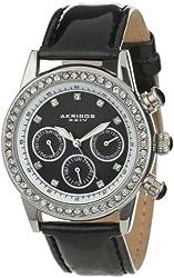 Akribos XXIV Women's AK556BK  Dazzling Silver-tone Swiss Multifunction Black Strap Watch