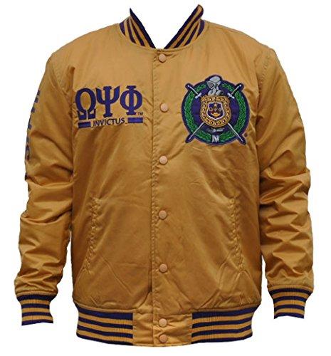 Omega Psi Phi Fraternity Mens Lightweight Jacket Extra Large Gold