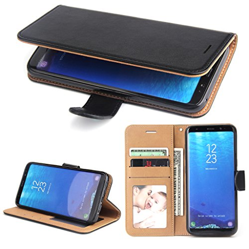 Galaxy S8 Case, SOWOKO Book Style Leather Wallet Case Flip Folio Shockproof Protection Cover with Credit Card Slots and Kickstand for Samsung Galaxy S8 (Black)