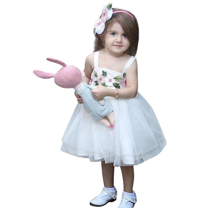 Modaworld Ropa de niña bebé Vestido de Tirantes sin Mangas de Tul Flor de Princess niñas bebés Vestido de Fiesta de Tul de Encaje Falda Disfraces: ...
