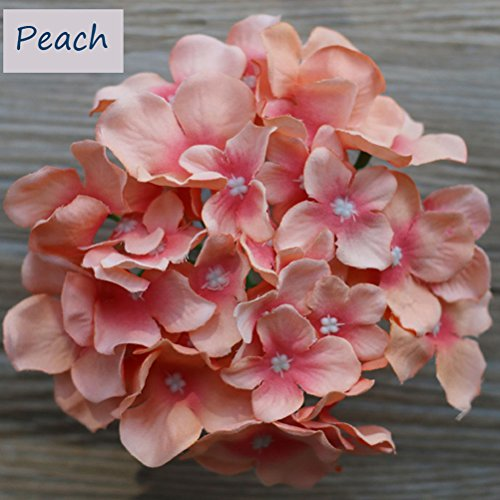 Lily Garden Silk Hydrangea Heads Artificial Flowers (12, Peach)