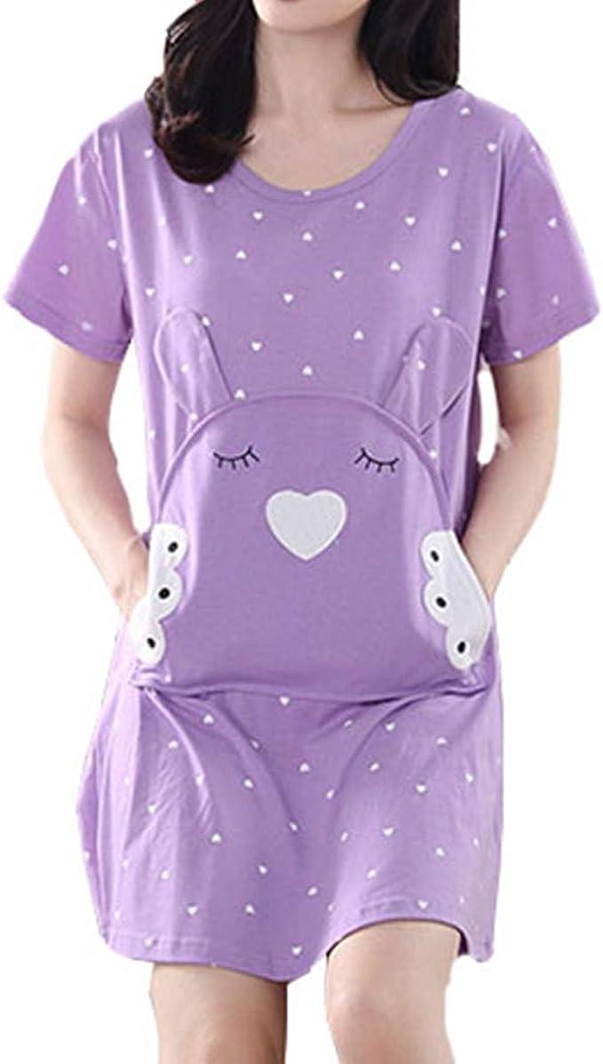 Pijamas Mujer, Camisón Mujer Verano Pijama de Algodón Manga Corta ...