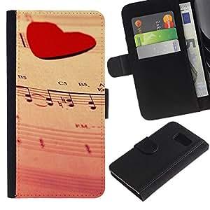 ZONECELL ( No Para S6 EDGE ) Imagen Frontal Negro Cuero Tarjeta Ranura Trasera Funda Carcasa Diseño Tapa Cover Skin Protectora Case Para Samsung Galaxy S6 SM-G920 - corazón del amor de la música