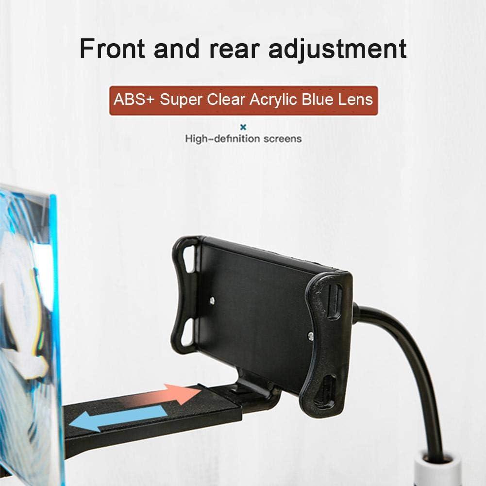 hemistin Screen Amplifier Mobile Phone Hd Projection Bracket Adjustable Flexible Full Angle Mobile Phone Tablet Holder 3D Hd Cinema Effect(Black)
