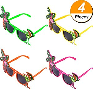 Pangda 4 Pieces Party Sunglasses Hawaiian Glasses for Beach Summer Tropical Luna Themed Party Photo Props
