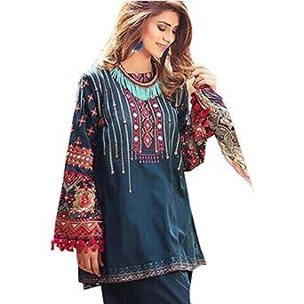 14c6371d97 GOHANDICRAFT Women Blue Cotton Full Salwar Suit Material (Gul Ahmed ...